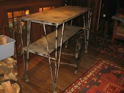 """Vintage 57"""" Wrought Iron Side Table Art Deco Plant Stand Mid Century 39"""" Tall"""
