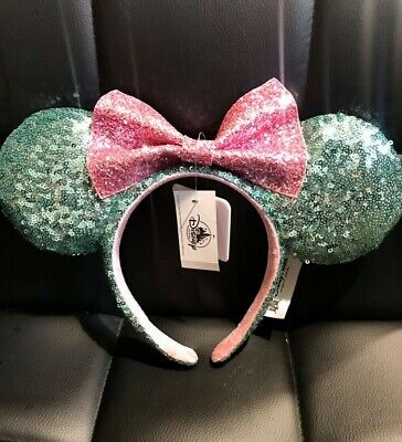 NEW! Disney Parks Minnie Mouse Ears Bow Sugar Rush Teal Pink Sequin Headband