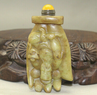 Chinese master hand carved God of Wealth old jade snuff bottle u341