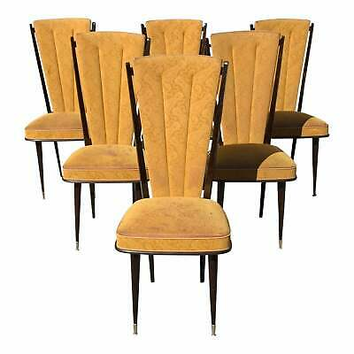 Set of 6 French Art Deco Solid Mahogany Dining Chairs 1940s