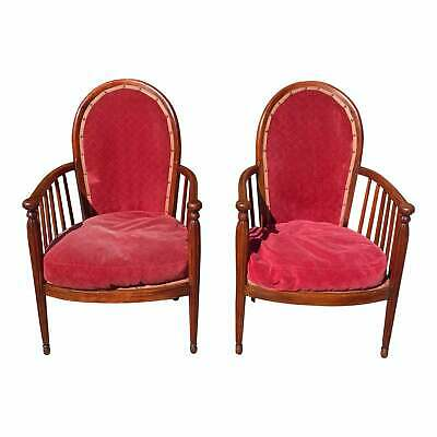Pair of French Art Deco Solid Mahogany Armchairs or Club Chairs 1940s.