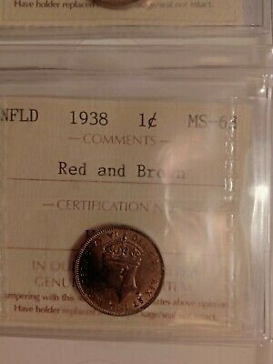 1938 Nfld Canada 1 Cent Penny Ms-63 Iccs Graded Red And Brown Ug 457