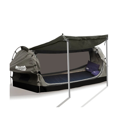 Mountview Free Standing Camping Swag With 2 Way Entry In Grey Colour