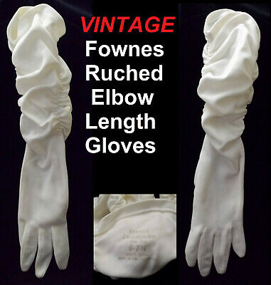 FOWNES EMBRACEABLE WHITE ELBOW RUCHED GLOVES One Size 6 - 7 1/2 Nylon Ladies VTG