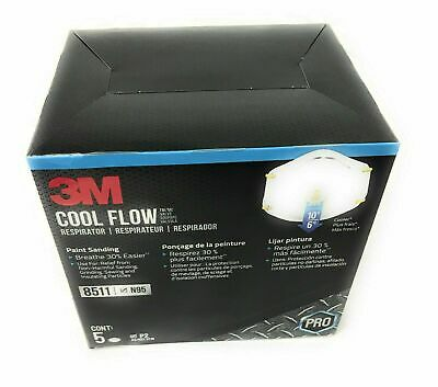 3M 8511 N95 Mask ( 5 Pack ) Cool Flow Respirator with Valve,  SAME DAY SHIPPING!