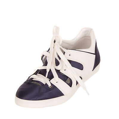 RRP€300 EMPORIO ARMANI Leather & Satin Sneakers EU 39 UK 6 US 9 Two Tone Cut Out
