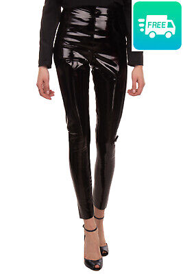 COMMANDO Trousers / Legging Size L PU Coated Wet Look Crumpled Effect Raw Edges