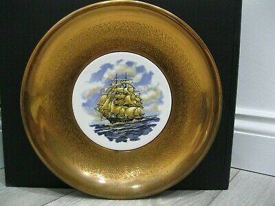 Arts & Crafts Nauticalia Copper Repoussé Charger With Galleon / Windjammer Tile