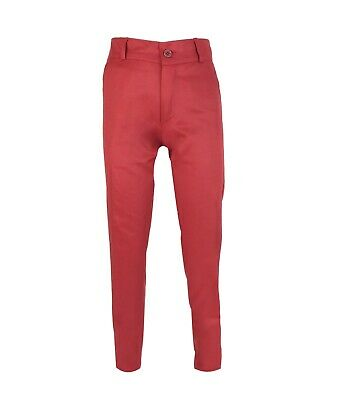 Boys Kids Slim Fit Chino Dress Suit Trousers Casual Cotton Pants in Red