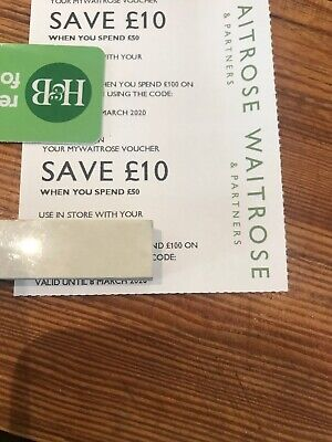 WAITROSE Vouchers Coupons, Total of £20, 2 x £10 off £50 spend, Expire 8 March