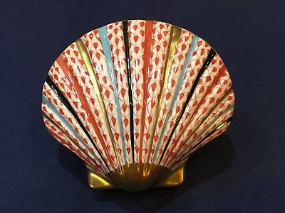 Herend Figurine- Scallop Clam Shell- Rust Fishnet