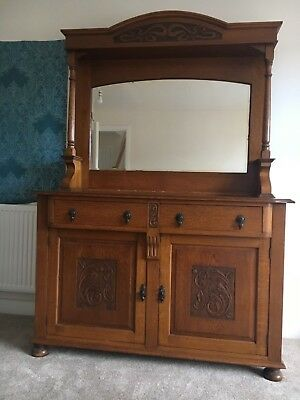 Antique dresser arts & crafts hand made solid oak