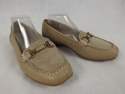 Homy Ped Size 9.5 Flat Moccasin Loafer Nude Taupe 'Lorna' Comfort Leather Bar