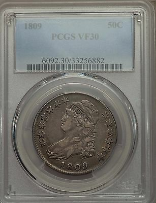 1809 Capped Bust Half Dollar, Original Choice Very Fine, PCGS VF 30