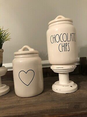 RAE DUNN Baby Canister SET: CHOCOLATE CHIPS Canister +  BABY HEART Canister VHTF