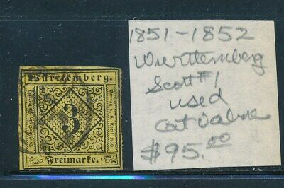 Own Part Of Wurttemberg Stamp History 1 Issue Cat Value $95.00