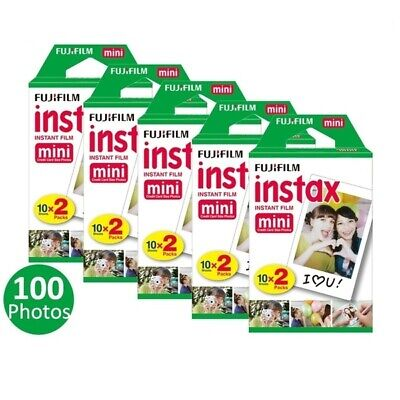 5x20 packs fujifilm instax mini film, 100 fuji instant photos 7s 8 50s 90 sp-130