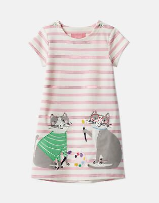 Joules Girls Kaye Applique Dress  - PINK STRIPE DOUBLE CATS