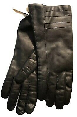 Antonio Murolo Italian Made In Italy Women's Black Leather Gloves ML NWT
