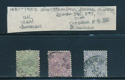 Own Part Of Wurttemberg Stamp History 3 Issues Cat Value $9.80