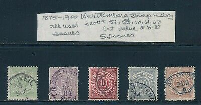 Own Part Of Wurttemberg Stamp History 5 Issues Cat Value $16.80