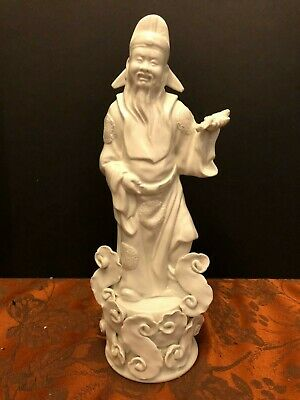 "Vintage 10.5"" Chinese Blanc de Chine statue Figurine, Incredible Detail"