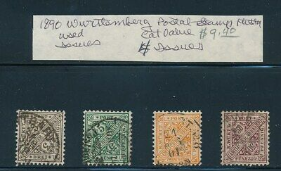 Own Part Of Wurttemberg Stamp History 4 Issues Cat Value $9.40