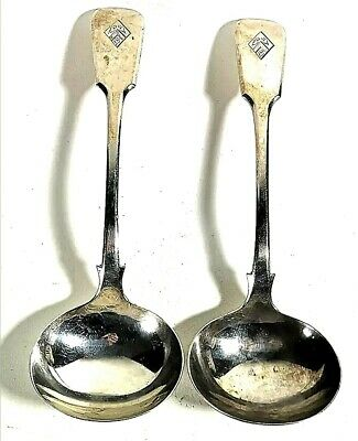 "A Superb Pair of Silver Plate Fiddle Pat Toddy Ladle Thomas Prime 7""long."