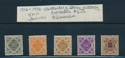 Own Part Of Wurttemberg Stamp History 5 Issues Cat Value $6.75