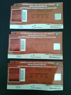 (3) 2007 French Open Used Tickets Rowland Gary's
