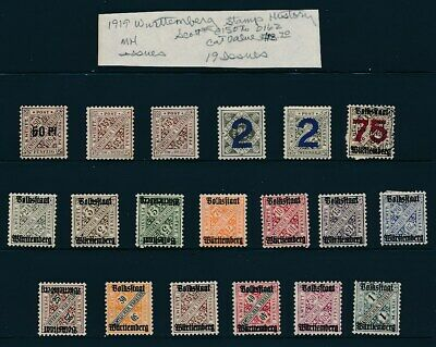 Own Part Of Wurttemberg Stamp History 19 Issues Cat Value $18.70