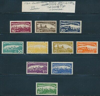 Own Part Of Wurttemberg Stamp History 10 Issues Cat Value $9.30
