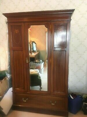 Fabulous Inlaid Mahogany Mirror Door Wardrobe with Drawer Under Excellent Cond