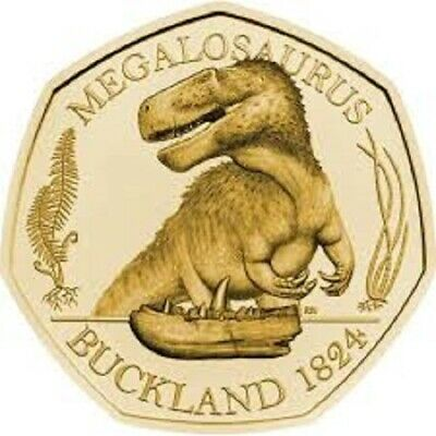 2020 - Solid Gold Proof 50p Coin feat Dinosaur Megalosaurus - Royal Mint
