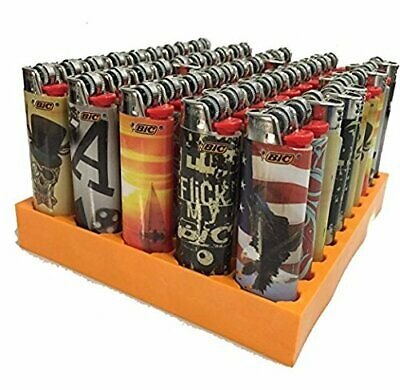 LOT OF 50 X Bic  Lighters Disposable Full Size Assorted design ( MIX )