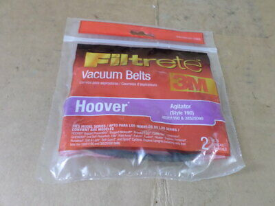 3M Filtrete 40201190 & 38528090 Style 190 Hoover Agitator Pack of 2 Vacuum Belts
