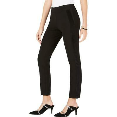 Alfani Womens Black Contrast Trim Solid Ankle Skinny Pants 8 BHFO 6950