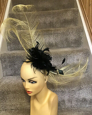 Cappelli Condici Fascinator Black & Gold Brand New Ideal for Races, Wedding, etc