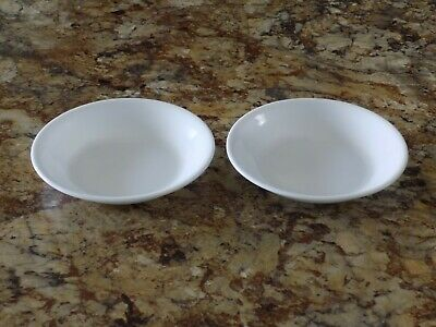 """2 Corelle Winter Frost White Sauce Bowls 4 3/4"""" diameter by 3/4"""" tall Small"""