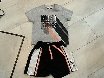Boys Designer Hugo Boss Outfit Top & Shorts Age 9/12 Months Vgc