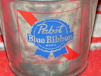 Vtg Pabst Blue Ribbon BEER MeTaL PaiL MAN CAVE Decor BuTT Bucket BaiL HandLe PBR
