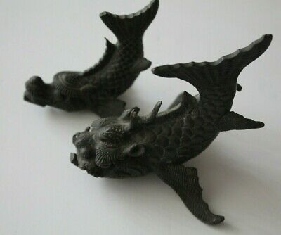 Pair of Vintage Brass Dragon Fish Paperweights or Figurines