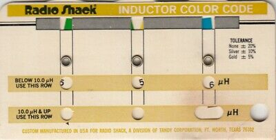 Radio Shack  Resistor Capacitor Color Code Guide chart , Inductor Tandy