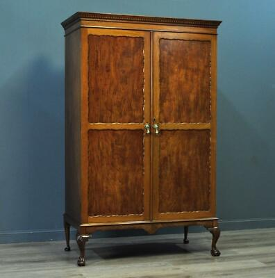 Attractive Small Antique Carved Mahogany Double Wardrobe