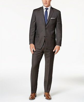NWT MICHAEL KORS Men's Classic-Fit 100% Wool Chocolate Brown Plaid Suit size 40R