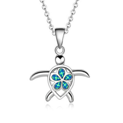 Exquisite Turtle Blue Imitation Opal Silver Pendant Necklace Womens Jewelry