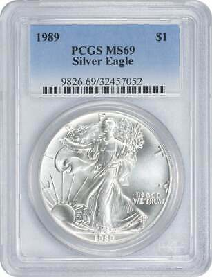 1989 American Silver Eagle Dollar MS69 White PCGS Mint State 69