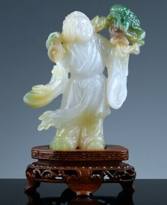 SUPERB CHINESE CARVED ICY WHITE & EMERALD GREEN JADE JADEITE BOY w MONEY TOAD