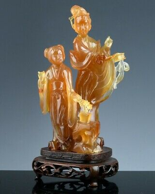 Finely Carved Chinese Carnelian Agate Imperial Immortals Attendant With Child
