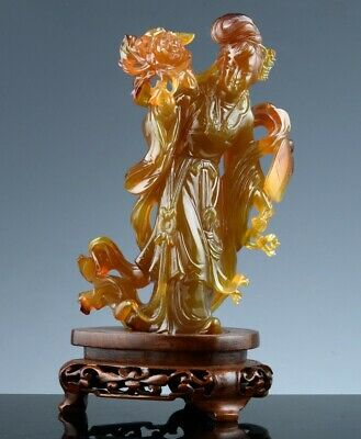FINE CHINESE CARVED CARNELAIN AGATE STONE GUANYIN IMMORTAL FIGURE w STAND